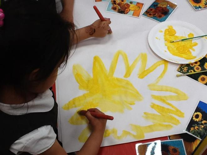 Painting sunflowers at Tinsley Meadows.